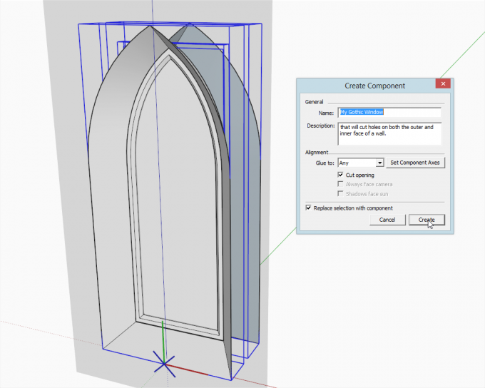 how to model a Gothic window in SketchUp