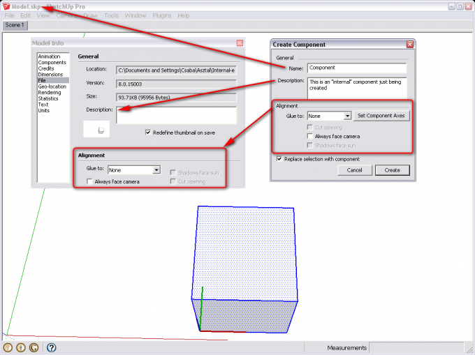 SketchUp Model info window vs. Create component dialog
