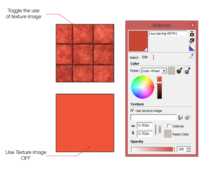 Toggling the use of textures in SketchUp