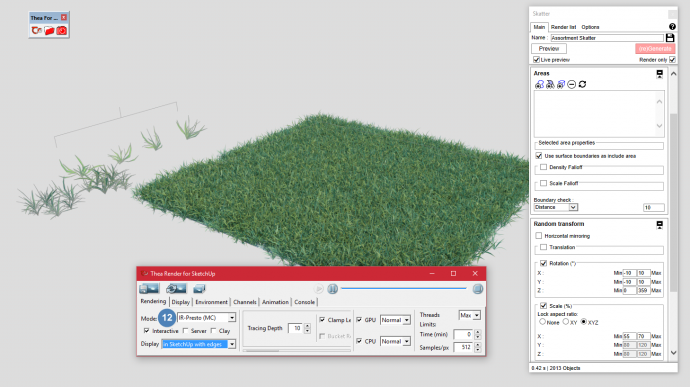 interactive rendering of grass in thea