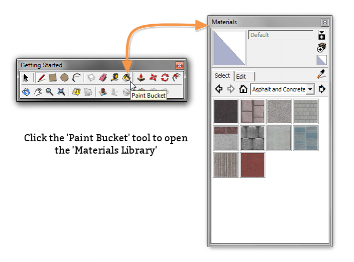 Opening the SketchUp Materials palette
