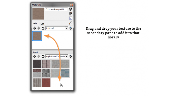 Drag and dropping materials into the seondary materials library pane in SketchUp