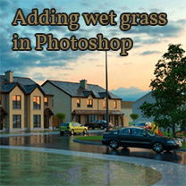 adding wet grass in photoshop
