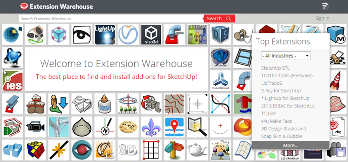 Extension Warehouse for SketchUp