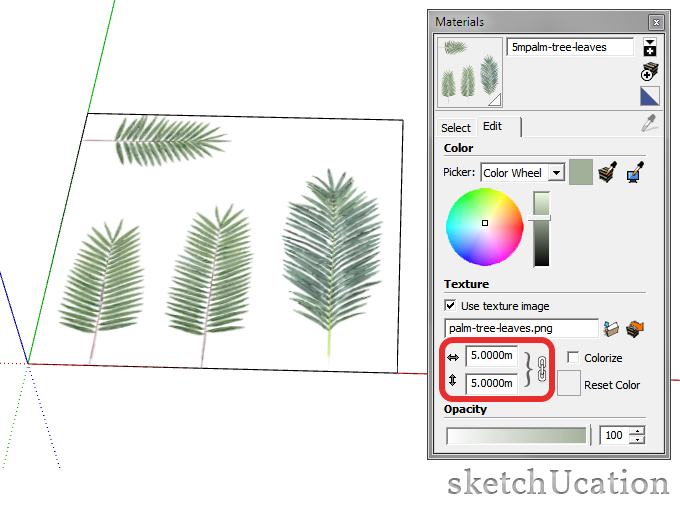 edit material size in sketchup